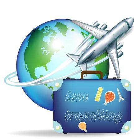 Avion avec un globe terrestre et la valise de voyage Banque d'images - 10959866