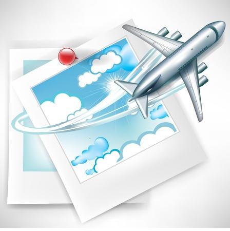 Fotos mit den Wolken, mit dem Flugzeug anreisen Konzept Standard-Bild - 10959864