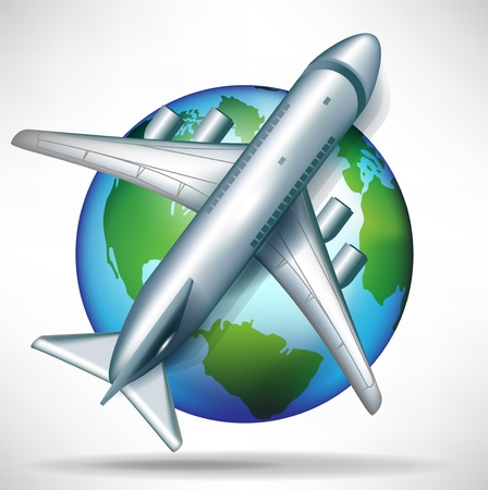 airplane on globe illustration; travelling concept Vector
