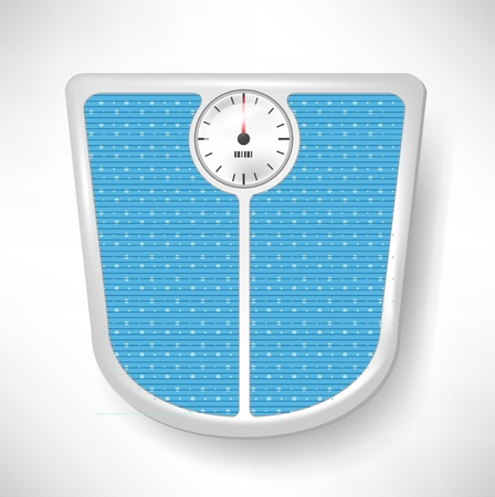 weighing scale: single blue bathroom weight scale Illustration