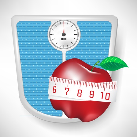 bathroom weight scale: bathroom weight scale and red apple with tape