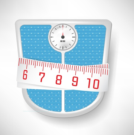 bathroom scale: bathroom scale and measuring tape; loosing wight concept Illustration