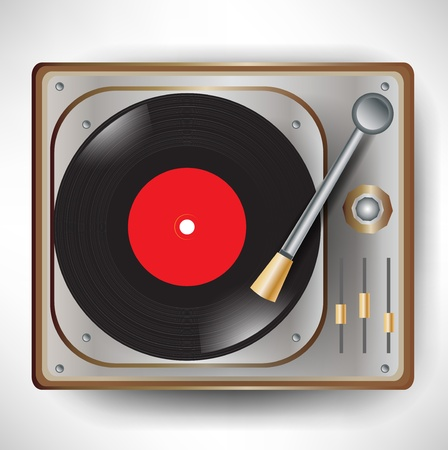 turntables: single retro gramophone with disc; turntable Illustration