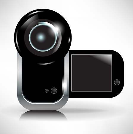 home video camera: single digital video camera recording icon Illustration