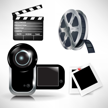 cinematography icons set: movie clapper and film tape with camera Vector
