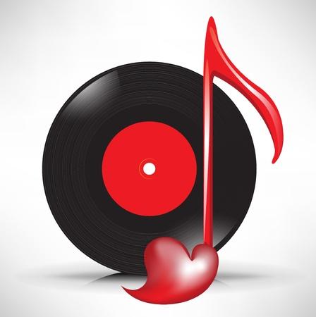 clave de fa: disco compacto y amor musical icono de la nota clave