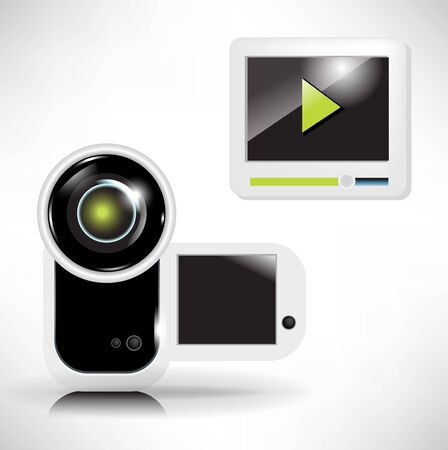 white camera recording and movie player icon Vector