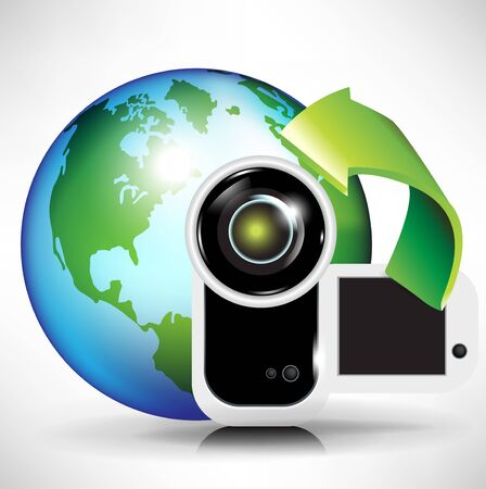 zoom earth: camera and earth globe; broadcast download concept
