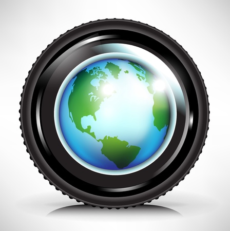 camera lens with earth globe illustration Vector
