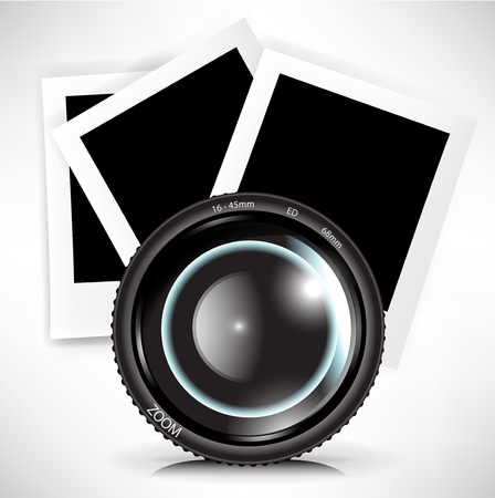 camera photo lens with photograph illustration Vector
