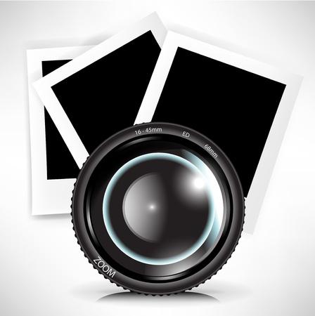 Foto-Kamera-Objektiv mit Foto Illustration Standard-Bild - 11031664