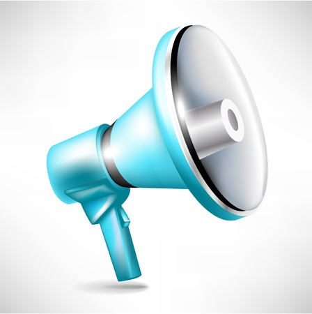 single blue shinny megaphone illustration Vector