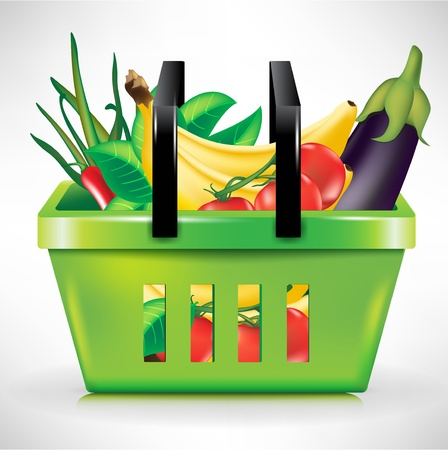 shopping basket with bunch of vegetables Vector