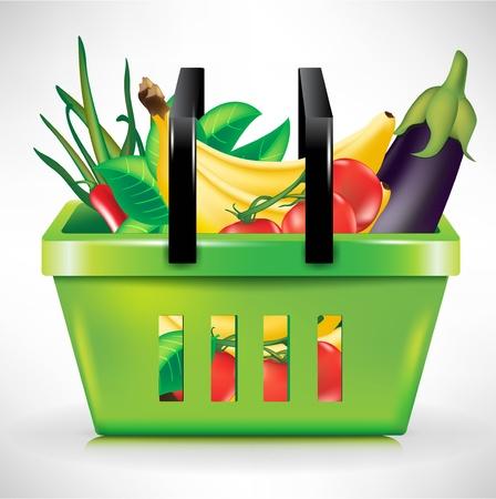 vegetable basket: shopping basket with bunch of vegetables Illustration