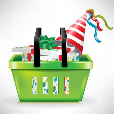gift box and hat in green shopping basket Illustration