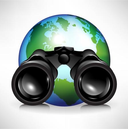 kijker: enkele aarde wereldbol met een verrekijker illustratie