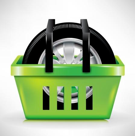 single car tire in shopping cartbasket Vector