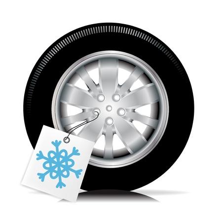 car tire: een autoband met de winter tag Stock Illustratie