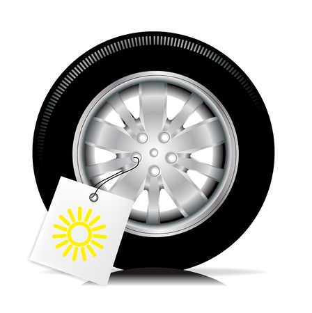 snow tire: single car tire with summer sign  Illustration