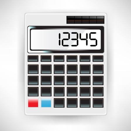 tax return: single white calculator illustration with numbers