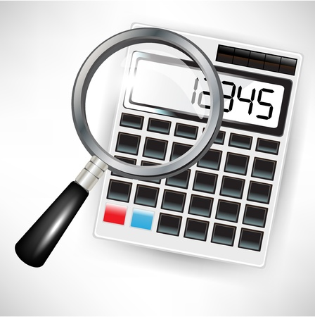 accountants: single calculator and magnifying glass