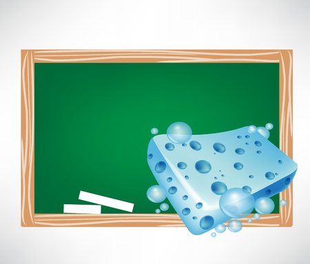 blue wet sponge and blackboard illustration Vector