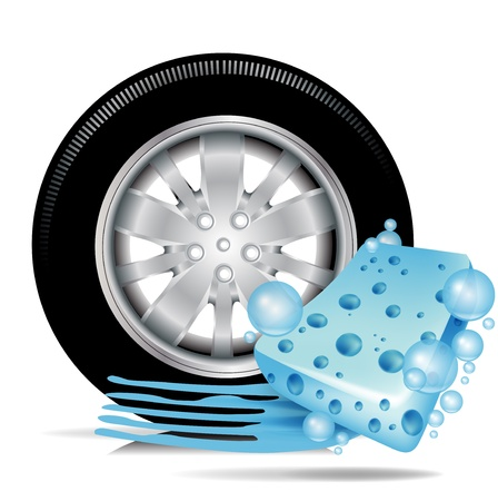 sponges: car tire with blue sponge and water trace; car wash concept