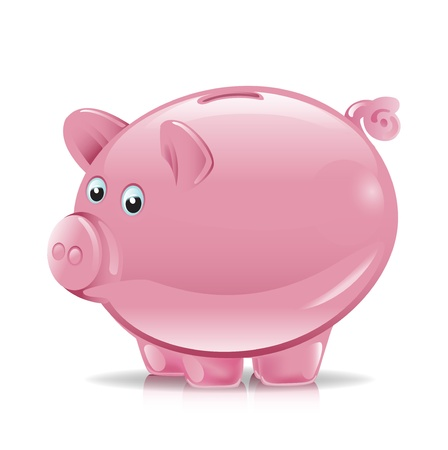 single pink piggy bank illustration Stock Vector - 11137375