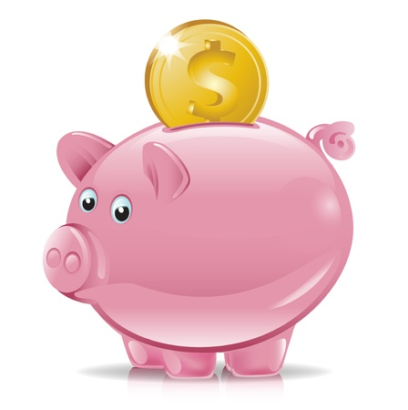 bank rate: piggy bank with golden coin falling