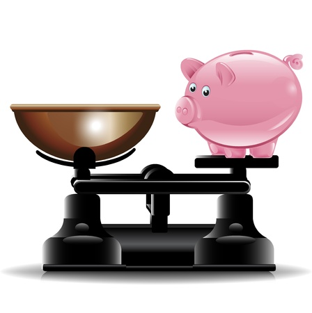 deposit: piggy bank on vintage scale illustration Illustration