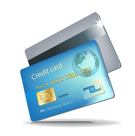 credit card debt: front and back credit card illustration