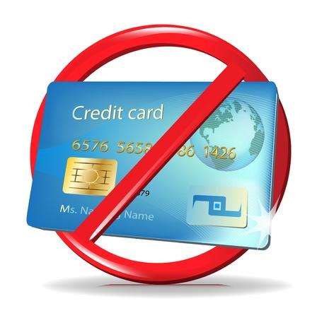faillite: aucune carte de cr�dit accept�e signe  le rejet de carte de cr�dit Illustration
