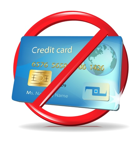 no credit card accepted sign credit card rejection Illustration