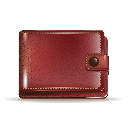 single leather closed wallet on white Illustration