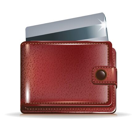 leather wallet with credit card inside Vector