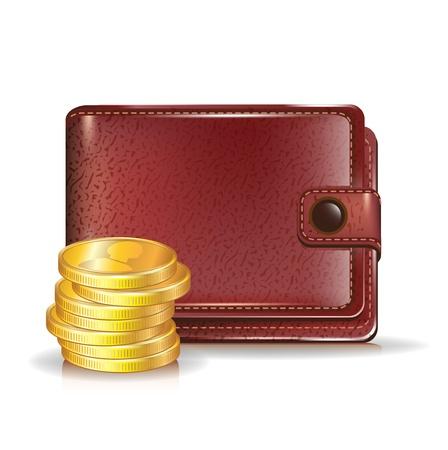 stack of cash: billetera de cuero con la pila de monedas de oro Vectores