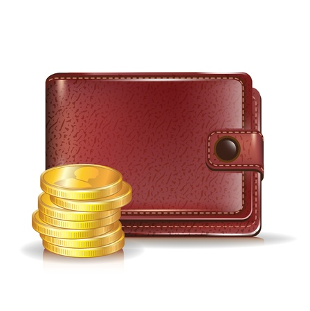 billfold: leather wallet with stack of golden coins
