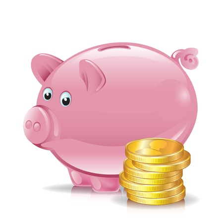 bank rate: stack of golden coins with piggy bank Illustration
