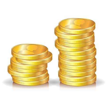 pieniądze: dwa zÅ'ote monety stosy na biaÅ'ym