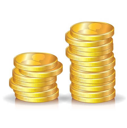 two golden coins stacks on white Vector