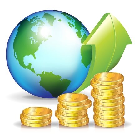 stack of coins and earth globe with ascending arrow