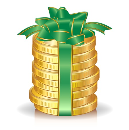 stack of coins with green bow; profit/prize concept Stock Vector - 11137387