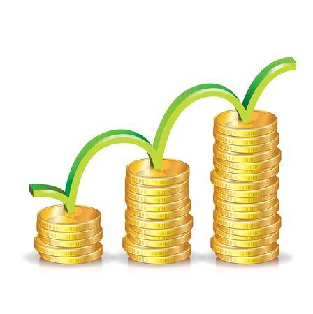 fondos negocios: Pila de monedas ascendentes gráfico; concepto de crecimiento económico