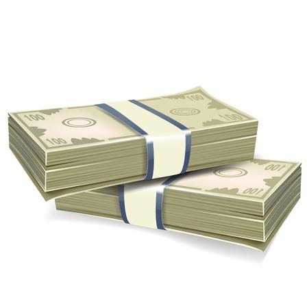 money packs: two packs of money realistic illustration