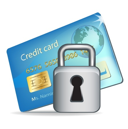 single credit card and lock illustration