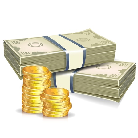greenbacks: two stacks of money and gold coins illustration