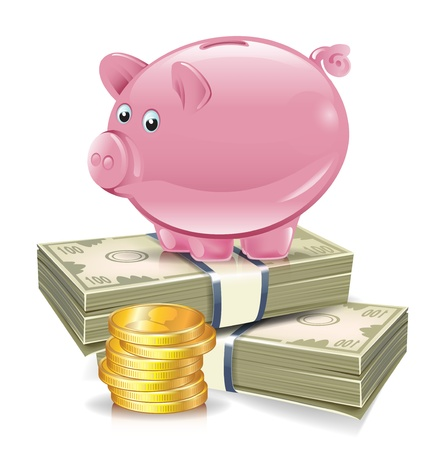 piggy bank on top of stacks of money and coins illustration Illustration