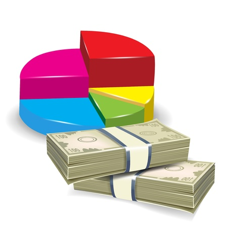 statistics pie chart and two piles of money illustration Vector
