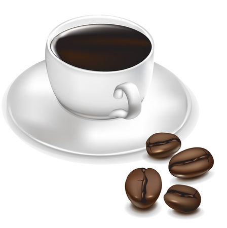 stimulate: cup of coffee and coffee beans aside