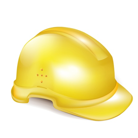 single yellow hard construction helmetcap on white Vector